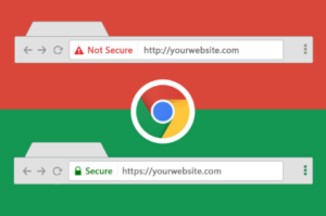 Example of website with and without SSL certificate
